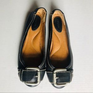 Fossil leather flats